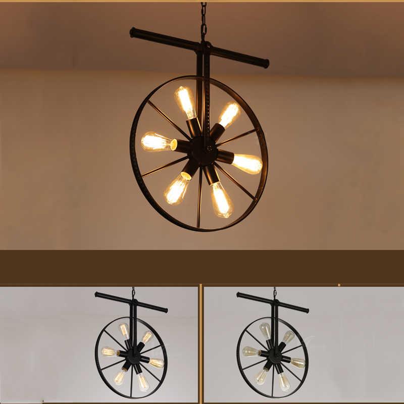 Индустрия Ретро чердак подвесные лампы железные колеса трубы осветительная арматура ресторан столовая паб, бар, кафе огни винтажная люстра