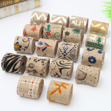 Flower Cotton / Jute 6cm Christmas Grosgrain Ribbon Linen Volume DIY Handmade Wedding Party Supplies Cartoon Printed