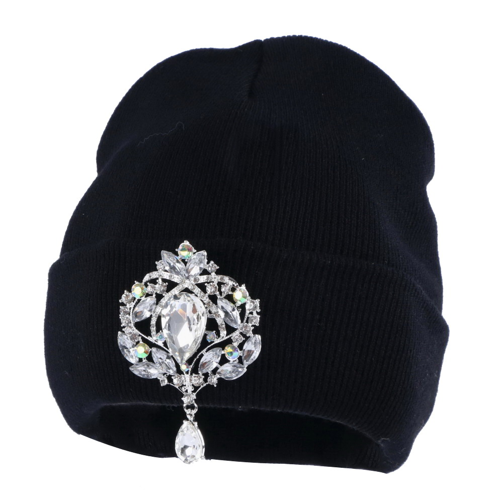 new fashion women   beanies   winter hat bling crystal floral luxury   beanie   girl casual   skullies   wholesale woman winter hats