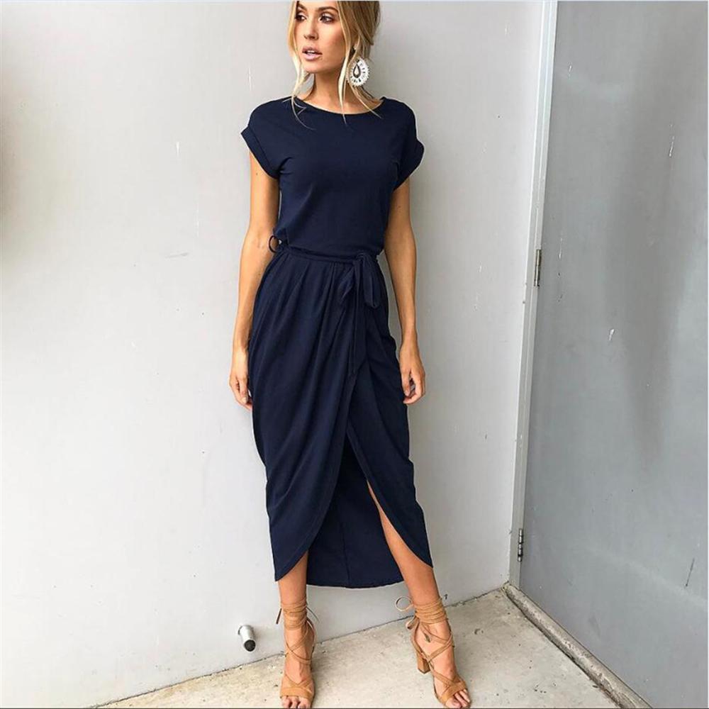 Women Shor Sleeve Maxi Dress Spring 2018 New Fashion Drawstring Long Shirt Dresses Open Slit Women Casual Dress