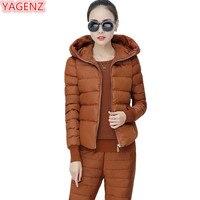 YAGENZ Women Cotton Set Tracksuit Women 3 Piece Set Hooded Vest+Tops+Long Pants High quality Female students Warm Black Set 735