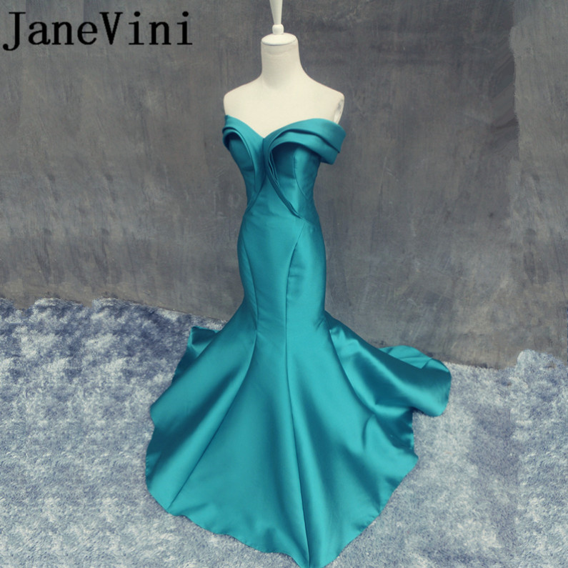 JaneVini Elegant Satin Mermaid Pleat Long   Bridesmaid     Dresses   Sweetheart Sleeveless Sweep Train Robe Longue Demoiselle D'honneur