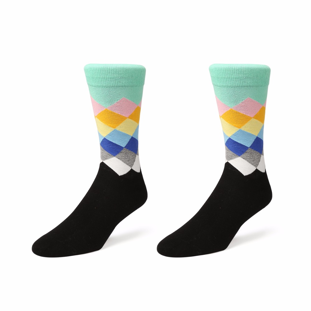 VVQI men socks square striped dress socks calcetines de hombre marca funny cotton crew hip hop socks novelty harajuku art socks