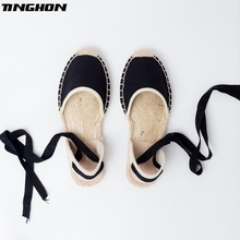 TINGHONSummer Canvas Women Espadrilles Ankle Strap Platform Sandals Stripe Black Beige Lace up Flat