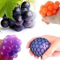 12Pcs 6CM Anti Stress Face Reliever Grape Ball Novetly Autism Mood Squeeze Relief Healthy Relax ADHD Decompression Adult Toys
