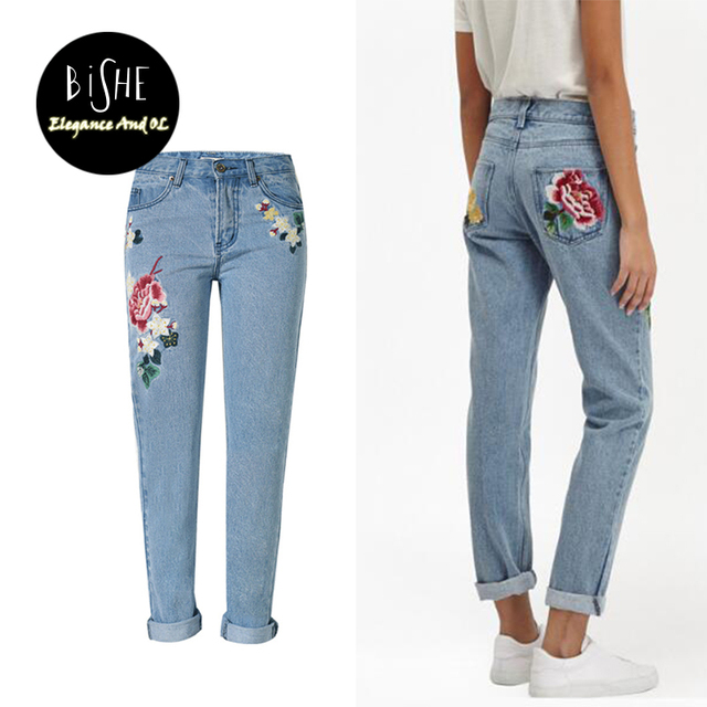 d6c1af901f Jeans con bordados Vaqueros Mamá Pantalon Femme Flor Denim jeans Boyfriend  mujer Para Las Mujeres Blanqueados