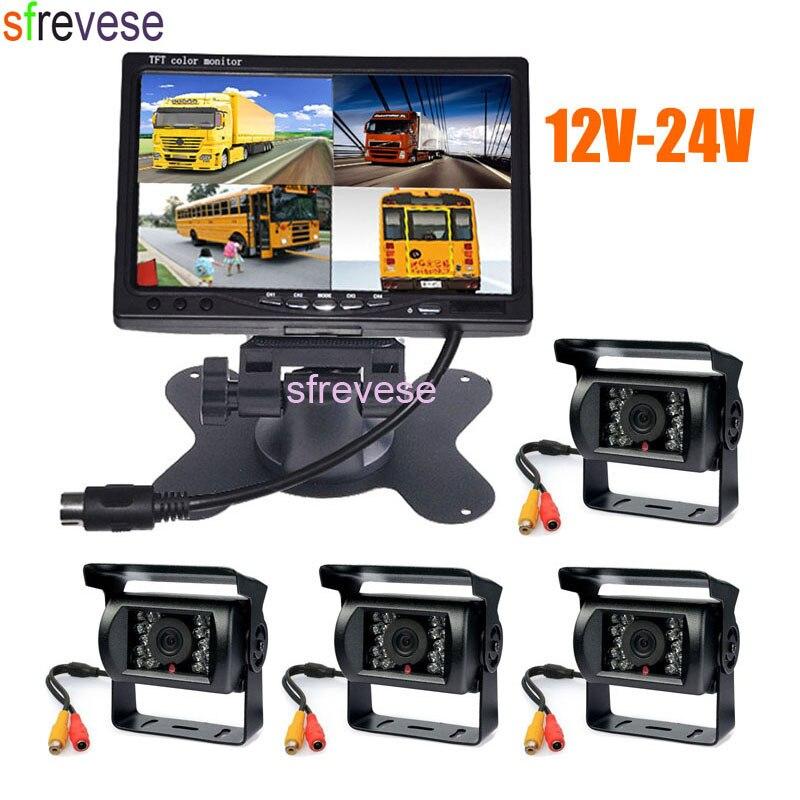 4x18 IR Nuit Vision Parking avec Caméra De Recul + 7 LCD 4CH Quad Moniteur De Split 12 V-24 V Vue Arrière de Voiture Kit pour Bus Camion