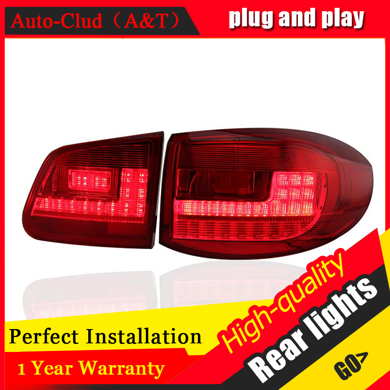 Car Styling LED Tail Lamp for VW Tiguan LED Taillights 2009-2012 Rear Light DRL+Turn Signal+Brake+Reverse auto Accessories led l hot sale abs chromed front behind fog lamp cover 2pcs set car accessories for volkswagen vw tiguan 2010 2011 2012 2013