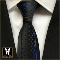 Unique Skinny Tie Handsome Man Personality Necktie Black with Blue Dots Wave Pattern