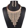 Women Fashion Gold Color Filled Jewelry Sets Austrian Crystal Pendant Wedding Jewelry Sets N3589