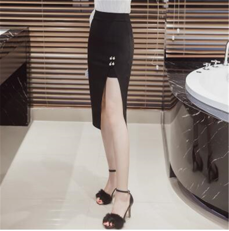 8bb8e213a6 Black Thigh Split Midi Bodycon Pencil Skirt High Waist Casual Streetwear  Skirts 2016 Fashion Open Split Sexy Women Skirts S 5XL-in Skirts from  Women's ...
