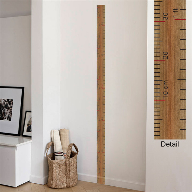 Cartoon Ruler Height Measure Wall Stickers For Kids Rooms Growth