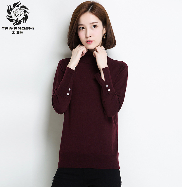 8c40ca840fe6c Autumn Winter Casual Women Sweater Long Sleeve Cuff Buttons Separate Loose  Turtleneck Knitted Pullover Black Sweaters Crop Top