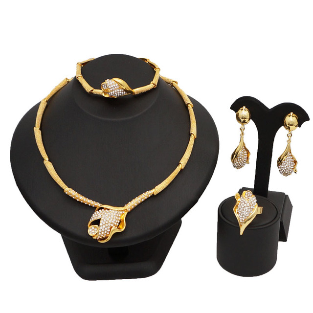 Gold plating african beads jewelry set