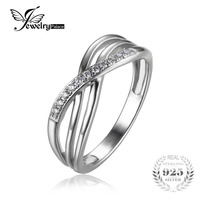 JewelryPalace Infinity Knot Cubic Zirconia Anniversary Promise Wedding Band Ring 925 Sterling Silver Women Jewelry On