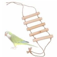 1 pcs pet Bird toy ladder Parrot supplies climbing swing biting birdcage stand Wood + hemp rope