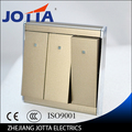 gold color Wall Switch Panel Light Switch 3 Gang 2 Way Push Button 16A,110~250V, 220V high quality