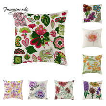 Fuwatacchi Linen Bright Colorful Flowers Cushion Cover Roses Oil Painting Throw Pillow Green Leaves and Pillowcase