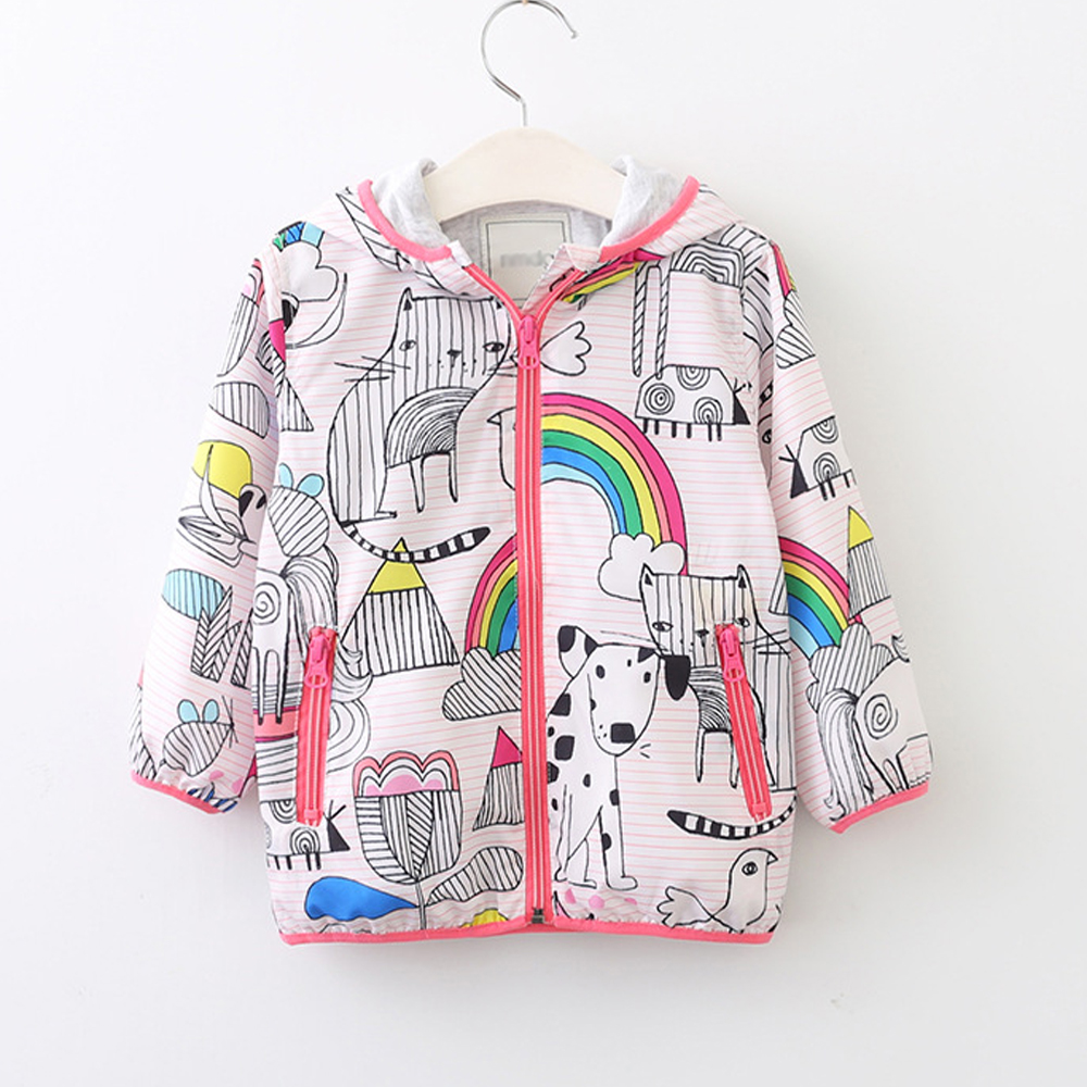 New Girls Clothes 2017 Autumn Kids Hooded Jackets Brand Children Wind breaker Cat Puppy Rainbow Graffiti Coat with Zipper