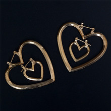 Sexy Exaggerated Hollow Heart Shape Earrings Simple Style Nightclub Dangle For Women Girls Jewelry Gifts