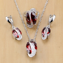 Mystic Oval Red Zircon White Crystal 925 Silver Jewelry Sets For Women Wedding Accessories Earrings/Pendant/Necklace/Rings T078