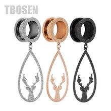 TBOSEN 2PCS Dangle Ear Stretcher Tunnel Plug Piercing Body Jewelry Antlers Fashion Stainless Steel Screw Earrings Expanders Gift