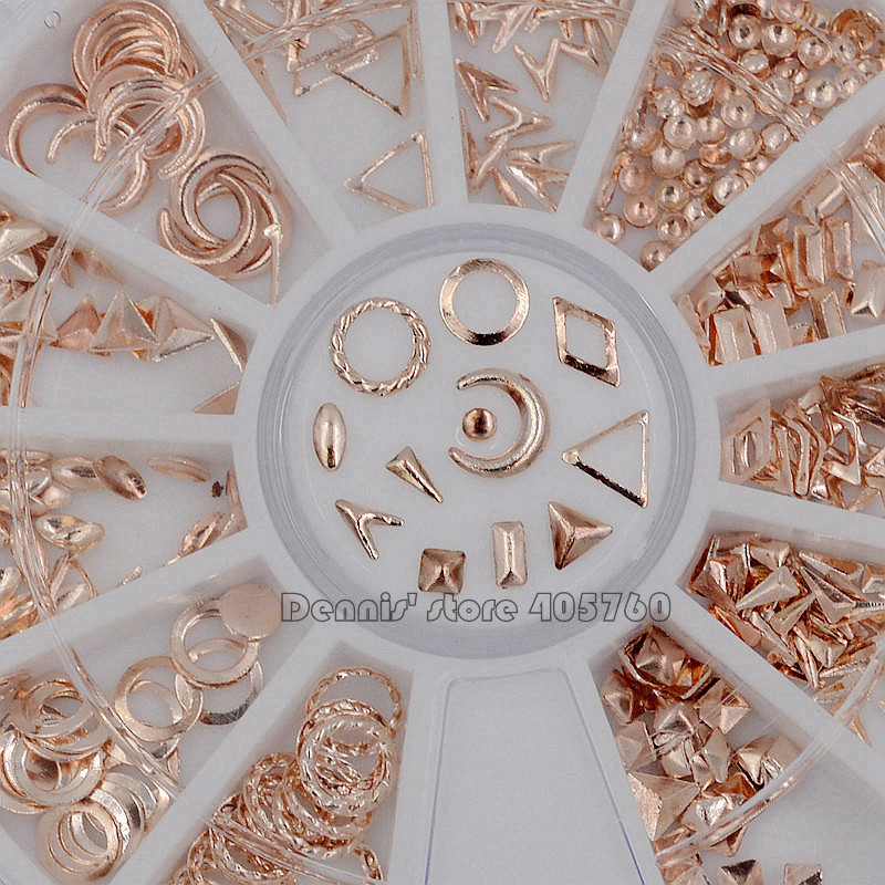 Rose Gold Metallic Mix Multi-shaped Studs Frame Alloy Nail