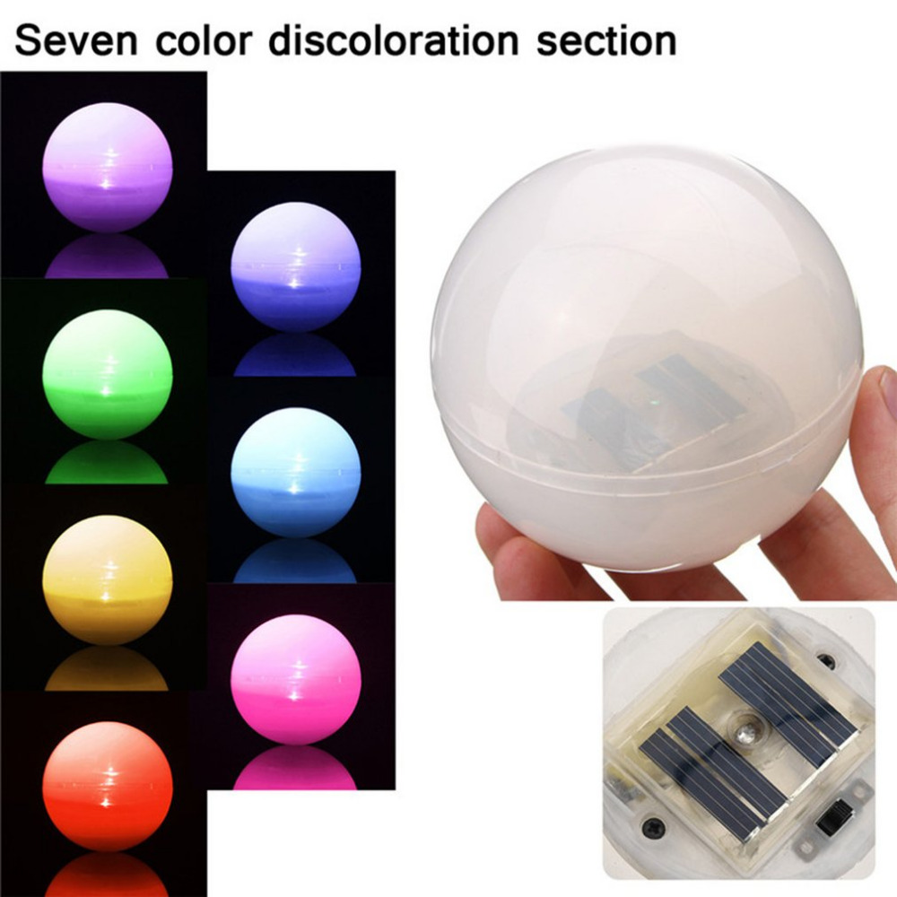 Solar Powered Floating Underwater LED Color Changing Light Waterproof Decor Lamp For Swimming Pool Outdoor Garden 85mm trecaan solar led rgb swimming pool light garden party bar decoration 7 color changing ip68 waterproof pool pond floating lamp