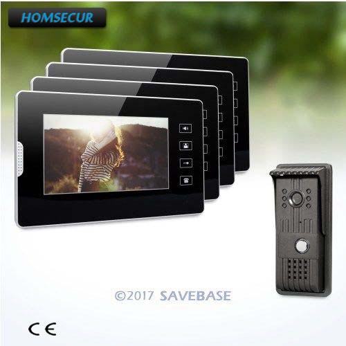 HOMSECUR 1V4 Kit 7inch Wired Video Security Door Phone with IR Night Vision for Home Security