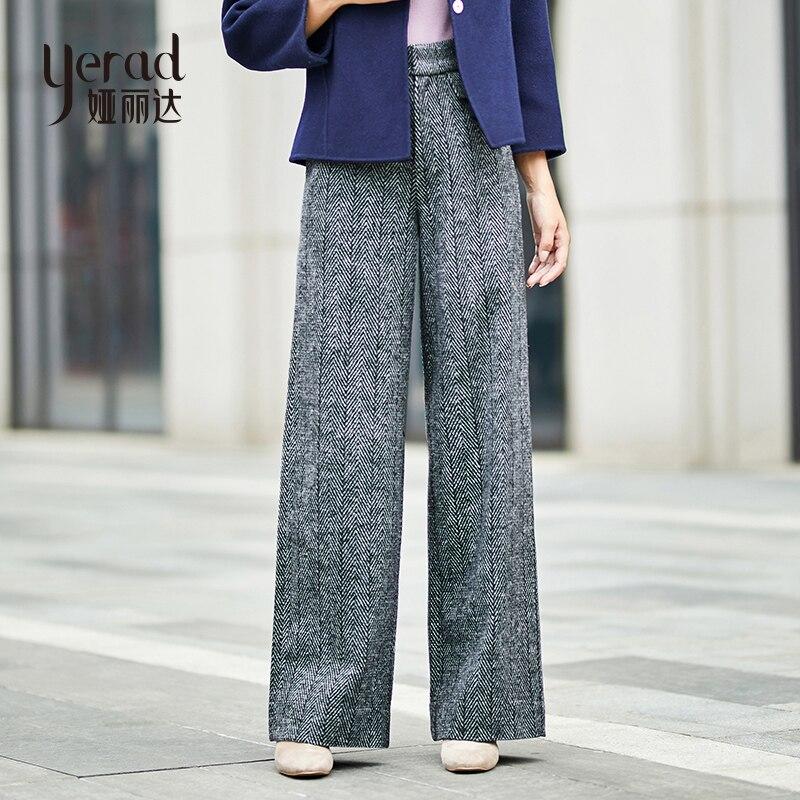 YERAD Women's Winter Wool Blended   Pants   Warm High Waist Loose Baggy Palazzo Female Casual   Wide     Leg     Pants