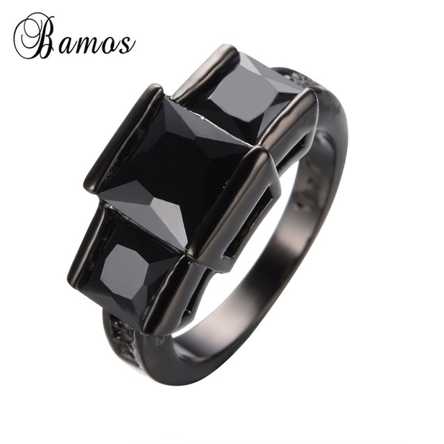 Top Quality Black Zircon Stone Ring Vintage Friday Gift Gold Filled Wedding Bands Finger Rings