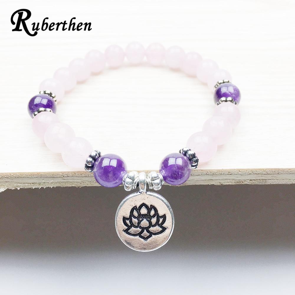 Ruberthen Healing Peace and Love Bracelet Women`s Yogi Jewelry Fashion Lotus Bracelet for Girl Natural Rose Pink Stone Bracelet