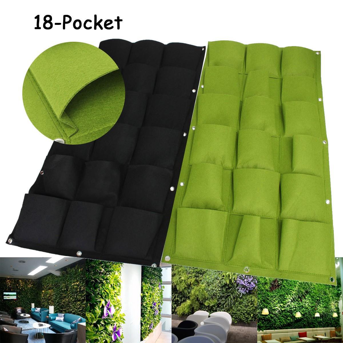 18 poches jardin grandir sacs pour mur vertical plantes fleur suspendus estimé planteur sacs pour jardin
