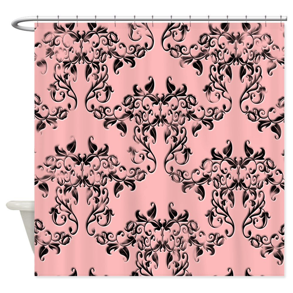 Black on Pink Damask Shower Curtain Decorative Fabric Shower Curtain