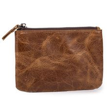 Shangdemeng mens pocket wallet leather head layer cowhide mad horse skin key bag coin card zipper 1015