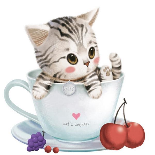 Uređenje doma Mosaic Lovely 3DIY Cup Cat Dijamantna slika Sticanje - Umjetnost, obrt i šivanje