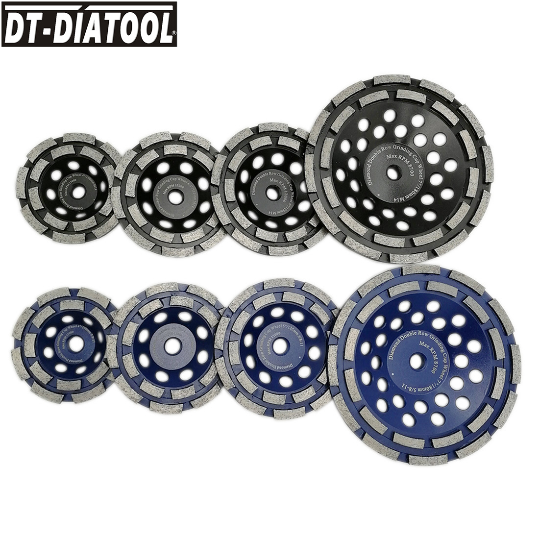 1pc Diameter 100/115/125/180mm Diamond Double Row Cup Grinding Wheel for Concrete Hard Stone Granite Marble M14 or 5/8-11 thread dt diatool 2pcs dia 7 double row diamond grinding cup wheel with 5 8 11 thread for concrete hard stone granite dia 7inch 180mm