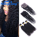 7А перуанский девы волос с закрытие странный вьющиеся волосы девственницы с кружева закрытие вьющиеся человеческих волос weave 3 расслоения с закрытие