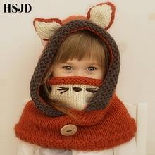 귀여운 만화 동물 수제 아이 겨울 모자 고양이 귀 폭스 망토 비니 모자 어린이 방풍 모자와 스카프 소년 소녀 니트 모자