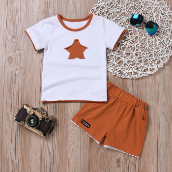 Newborn baby boys clothing set five-star t-shirt and short 2pc set 1