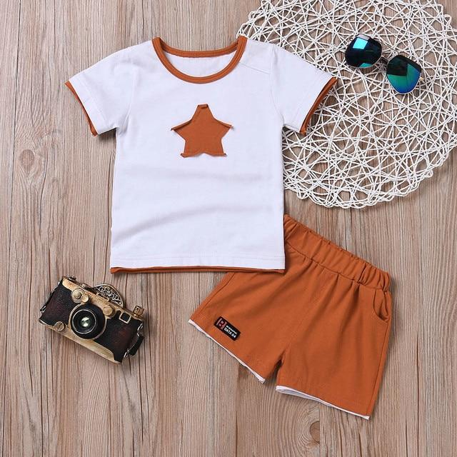 Newborn baby boys clothing set five-star t-shirt and short 2pc set 1