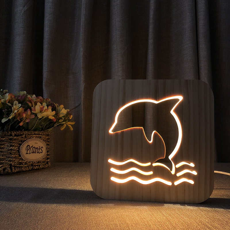 PET Addiction animal dolphin shape Wooden 3D LED Night Light wooden night lamp as gift for kids room decoration color changing dolphin shape 3d visual led night light