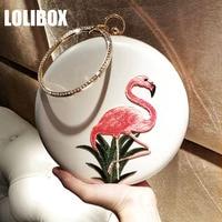 LOLIBOX Clutches Women Embroidered Flamingo Diamond Metal Ring Handbag Slanting Women's Banquet Party Clutches Women Evening Bag