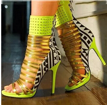 Designer neon green yellow fluorescein mixed colors leather sandals sexy open toe cut-outs gladiator sandal boots high hees fashion neon green yellow fluorescein