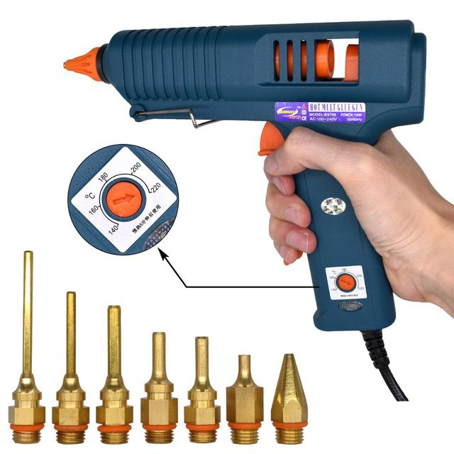 150W Hot Melt Glue Gun with Temperature Control for Home DIY Industrial Manufacture Use 11mm Glue Sticks Pure copper nozzle