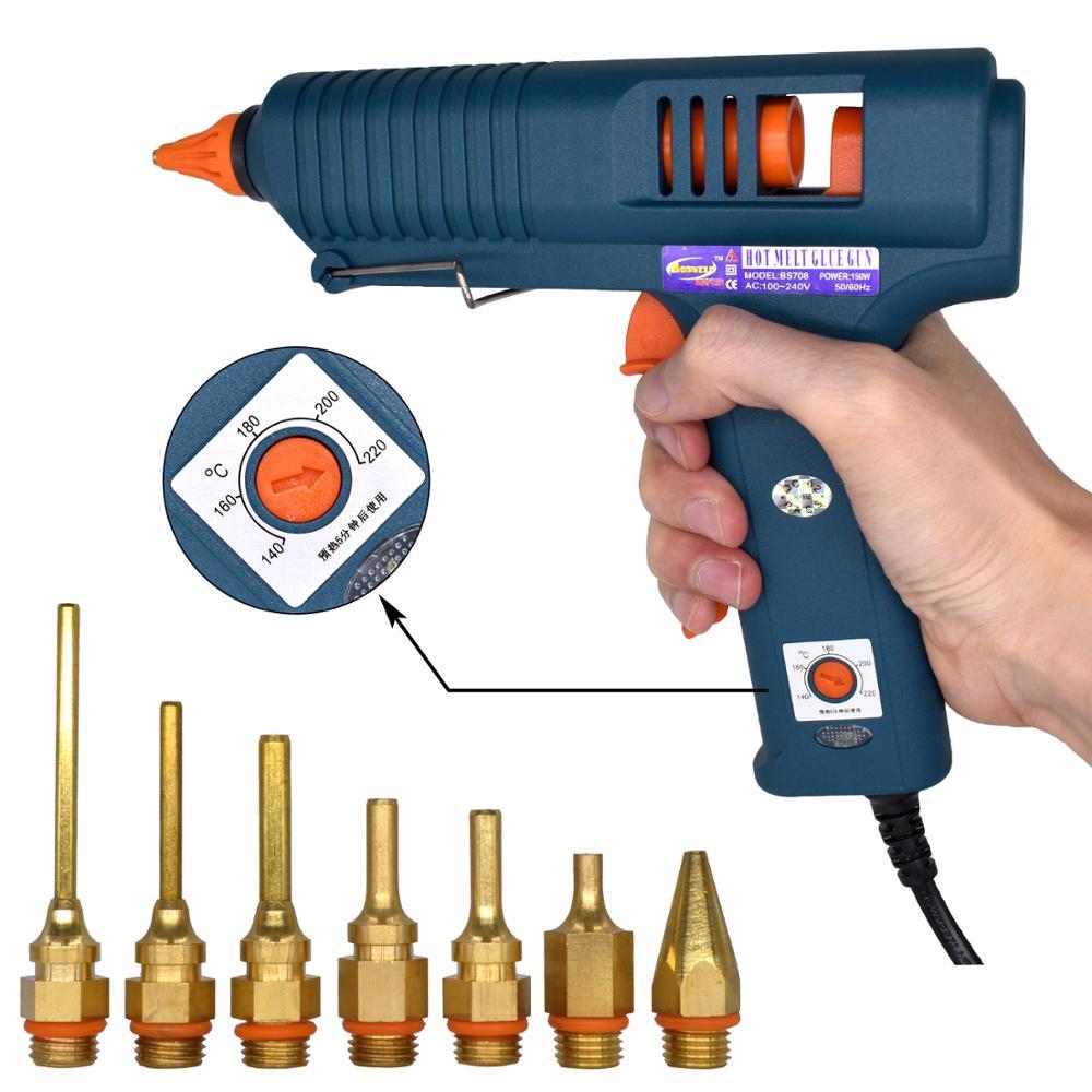 150W חם ממיסים אקדח דבק עם בקרת טמפרטורה עבור בית DIY ייצור תעשייתי להשתמש 11mm דבק מקלות טהור נחושת זרבובית