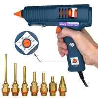 Pistolet à colle thermofusible 150W avec contrôle de température pour bricolage à la maison fabrication industrielle utilisation 11mm colle bâtons buse en cuivre pur