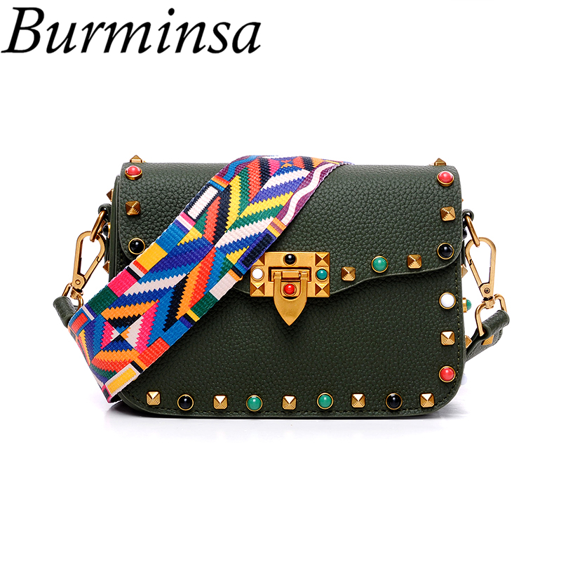 Burminsa Women Rivet Small Flap Shoulder Crossbody Bag Designer Brand Ladies Handbags High Quality PU Leather Messenger Bag 2018 tcttt luxury handbags women bags designer fashion women s leather shoulder bag high quality rivet brand crossbody messenger bag
