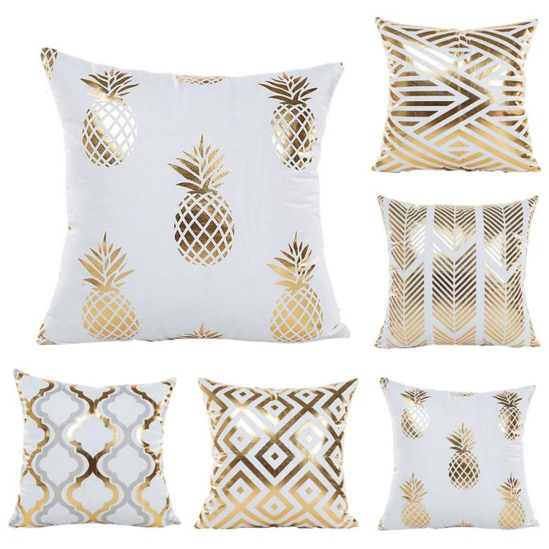 Bronzing Cushion Cover Polyester Printed Geometric Pineapple Gold Pillow Cover Decorativ ...