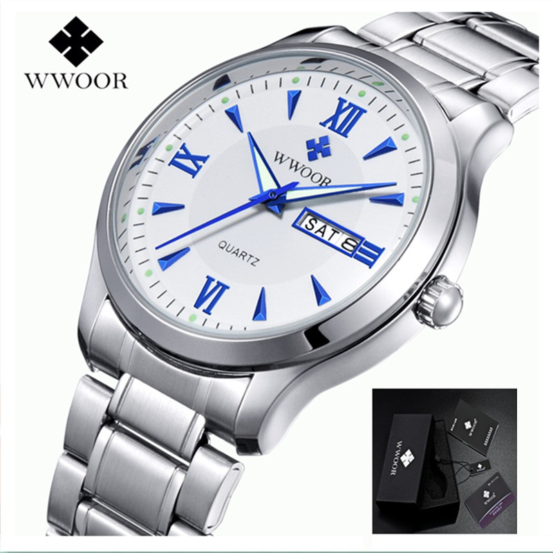 2017 Men Watches Brand Luminous Hour Day Date Clock Male Silver Stainless Steel Luxury Quartz Watch Men Casual Sport Wrist Watch top brand luxury new silver watch women dress watches fashion men date leather stainless steel sport quartz wrist watch clock a1